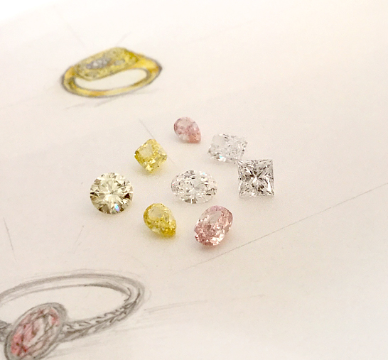 ダイヤ,ファンシーカラー,ピンク,イエロー