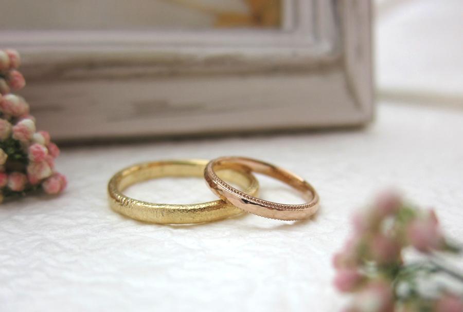 沸,ミル打ち,結婚指輪,K18,